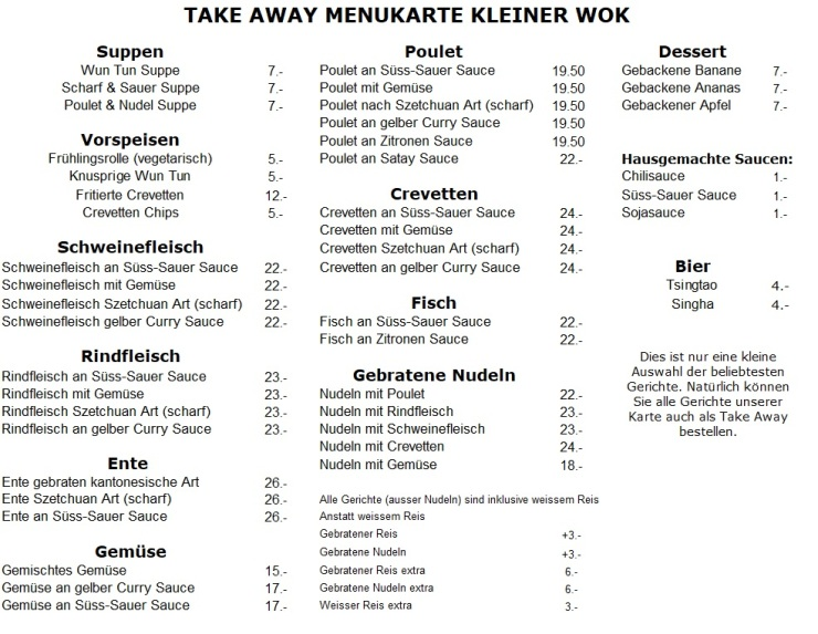 Take Away Menu Wok